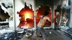 Terrorista destrói fachada de prédio em Brasilia